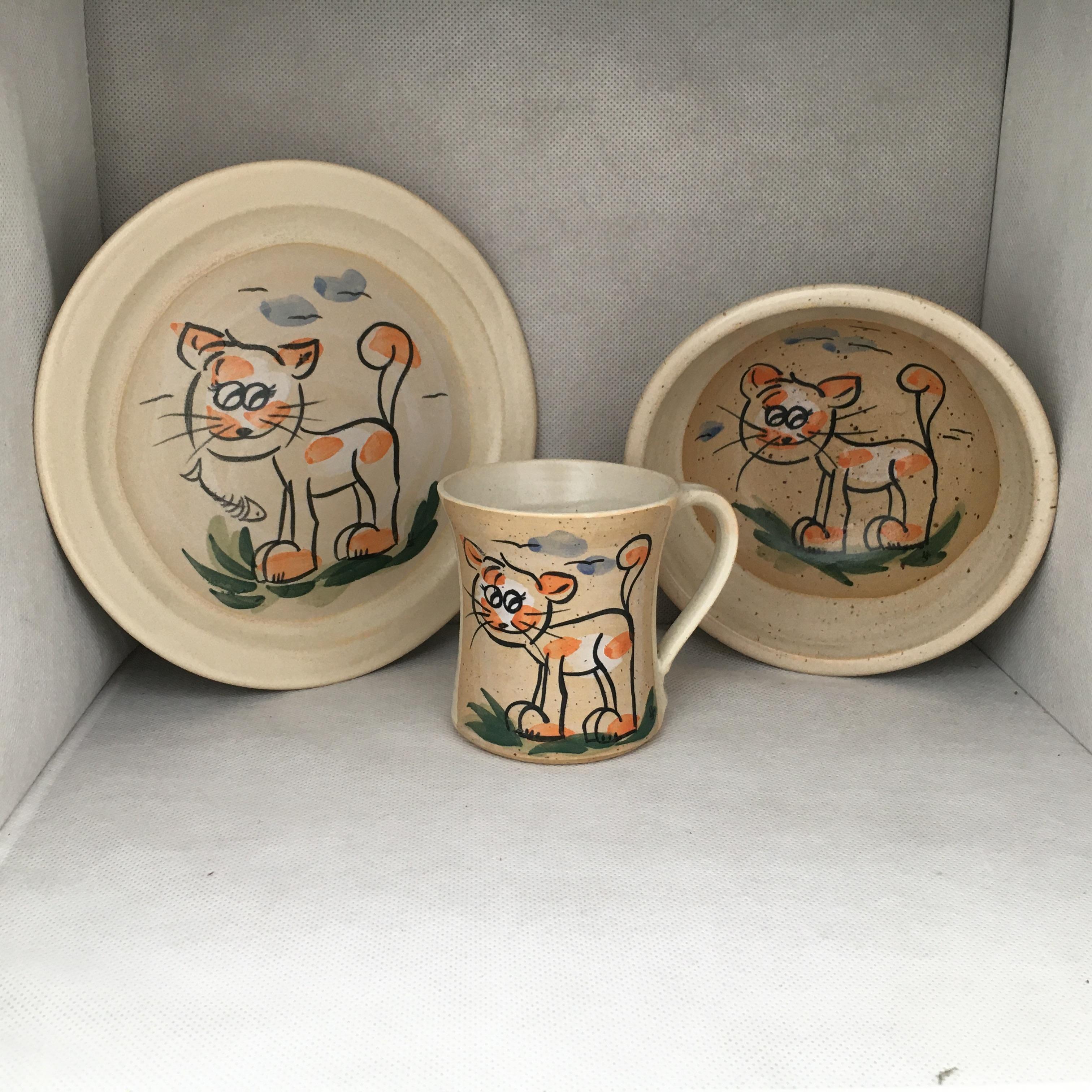 Katzen SET: Tasse-Teller-Müslischale